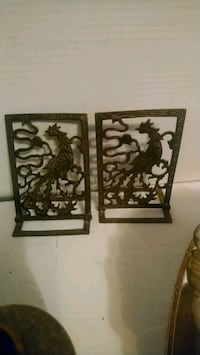 Brass Dragon Chinese pearl bookends