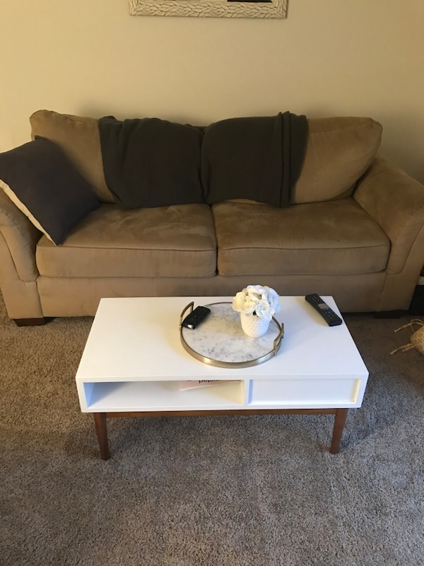 Tan couch and chair for sale!