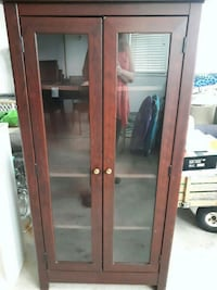 brown wooden framed glass display cabinet Hamilton, L0R