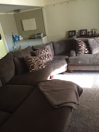 brown suede sectional sofa with throw pillow lot Ottawa, 61350
