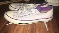 pair of purple-and-white low-top sneakers
