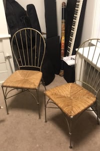 Two wrought iron chairs with wicker seat. Price is for the pair Bethlehem, 18018