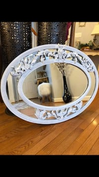 """Oval Ornate wood mirror 37""""X26""""( serious inquires please )"""