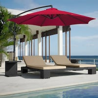 New Red 10' Offset Patio Umbrella, Never Opened Centreville