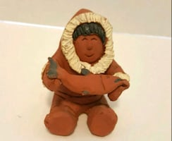 TERRACOTTA CLAY INUIT SCULPTURE