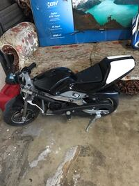 Pocket bike 33cc run on gas and oil goes about 35 mph. no problems but has a popped rear tire everything else is good and if u buy this I will give you the gas the oil and the helmet  Anaheim, 92804