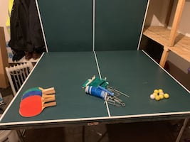 Ping pong table with everything