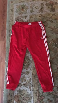 Red adidas track pants mens