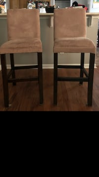 Two brown wooden framed brown padded chairs Ellenwood, 30294