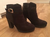 brunt suede stablet hæl side-zip booties Oslo, 0369