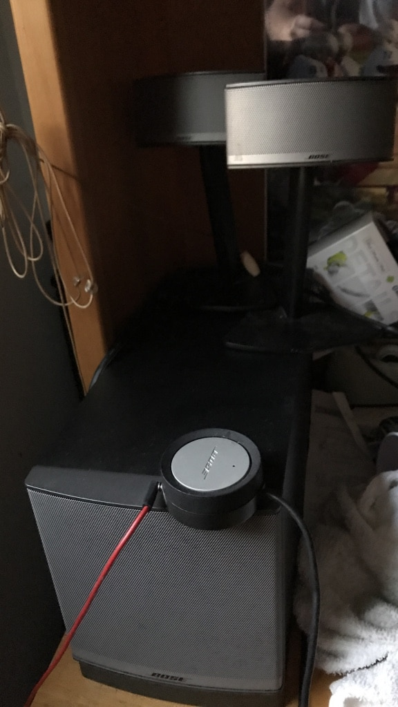 black and gray Bose audio speakers