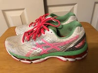 ASICS GEL-NIMBUS Women's Size 9.5 Athletic Shoes, White/Pink /Green