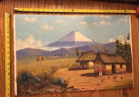 Original painting on wooden floor planking, unframed : from Ecuador.