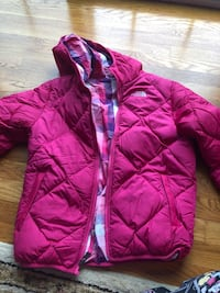 Pink north face reverse-able dawn jacket