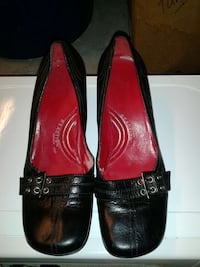 black and red leather slip on flats