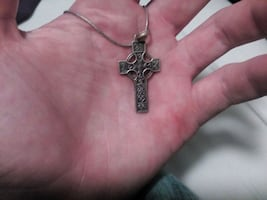 Antique silver Celtic cross pendant and necklace