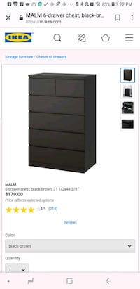 Ikea tall malm 6 drawer dresser  Silver Spring, 20904