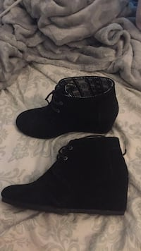 pair of black suede chunky heeled booties Langley, V3A 5C5