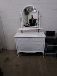 White Wood Dresser w/Swing Mirror and Queen Anne Legs Laurel, 20708