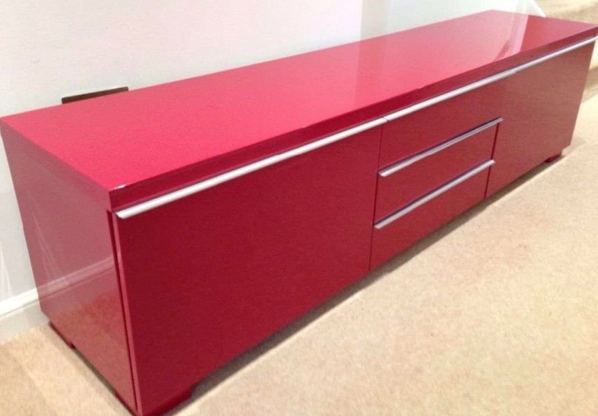 Sold Red Gloss Tv Bench Ikea Besta Burs Tv Stand Entertainment