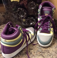 Adidas purple, gray, yellow, & white high cut shoes ( pls slide to see other photo ) Calgary, T2J 1V5