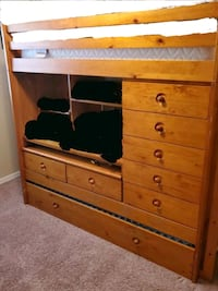Twin Wood Loft Bed with Trundle, Ladder, & Build in Desk Spring Hill, 34606