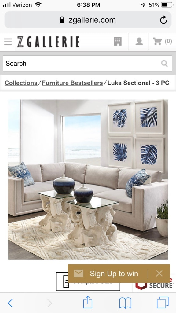 Z Gallerie Three Piece Sectional