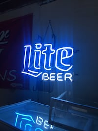black and blue Bud Light neon signage Gorham, 04038