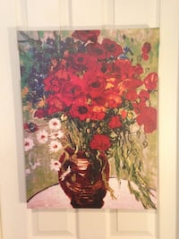 Frameless painting of red poppies and white daisie 2267 mi