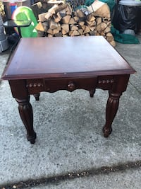 Large Wood End Table with Drawer