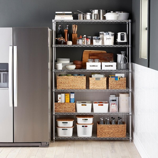Metal Shelving from The Container Store.  75 inches tall and 4 feet wide plus 75 inches tall and 2 feet wide.