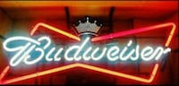 red and black Budweiser neon signage Clovis, 93611