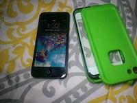 black iPhone 4 with green case Denver