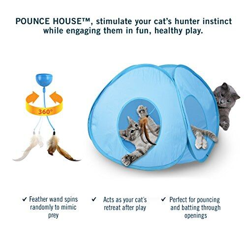 Our Pets Pounce House Interactive Feather Tent  Spinning Cat Toy NEW