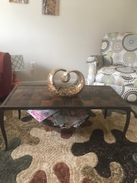 Brown/Tan/Rust Woven Design Metal Coffee Table Set (Includes Coffee Table and 2 End Tables-Nice for Den, Living Room or Sun Room)   Henrico, 23075