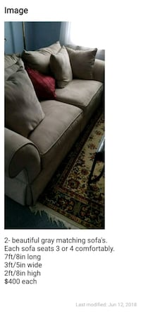 gray fabric 2-seat sofa College Park, 20740