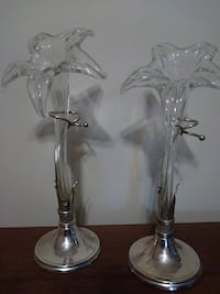 two clear glass candle holder