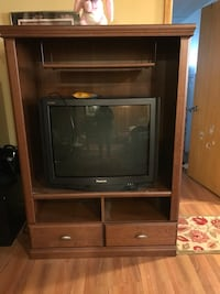 gray CRT TV and brown wooden TV hutch Châteauguay, J6K 4A4