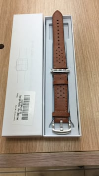 brown leather watch strap with silver-colored buckle and white box Port Coquitlam, V3C 3H1