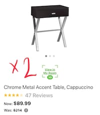 2 Chrome and Cappuccino End Tables from Houzz Charlotte