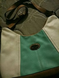 green and brown leather crossbody bag Niles, 49120