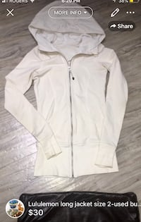 Lululemon long jacket size 2-payed close to 150$-this one is with thumb holes super long and cozy great fall jacket-few light stains here and there lots of life left London, N5W 6E2