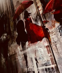 Gorgeous 3pc painting/wall art (red, black, greys, white) Edmonton, T5A 4M6