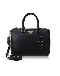 Prada Women's Black Leather Handbag 1BB023 Purse