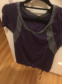 women's purple and gray scoop-neck cap-sleeve shirt Lululemon