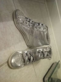 gray and silver glitter lace up high top sneakers Worthington, 43085
