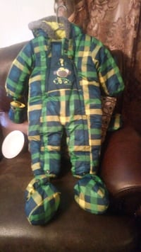 green and blue plaid print backpack Milton, L0P