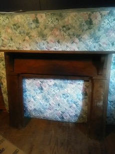 brown wooden fireplace frame