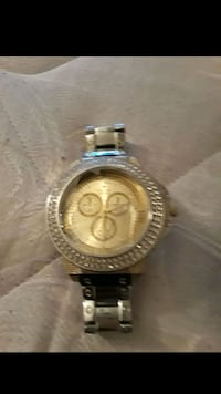 round gold chronograph watch with silver link bracelet Indianapolis, 46225