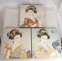 3 Japanese Geisha painted portraits Stafford, 22556